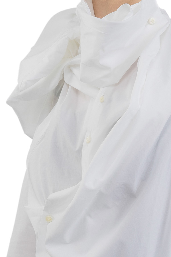 AW19 AGANOVICH RUCHED COTTON SHIRT WHITE 4