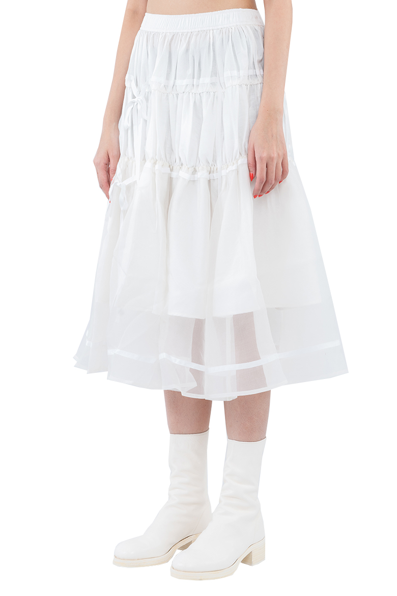 SS20 RENLI SU TIERED DIFFERENT TEXTURED GATHERED MIDI SKIRT WHITE RS0202211 2
