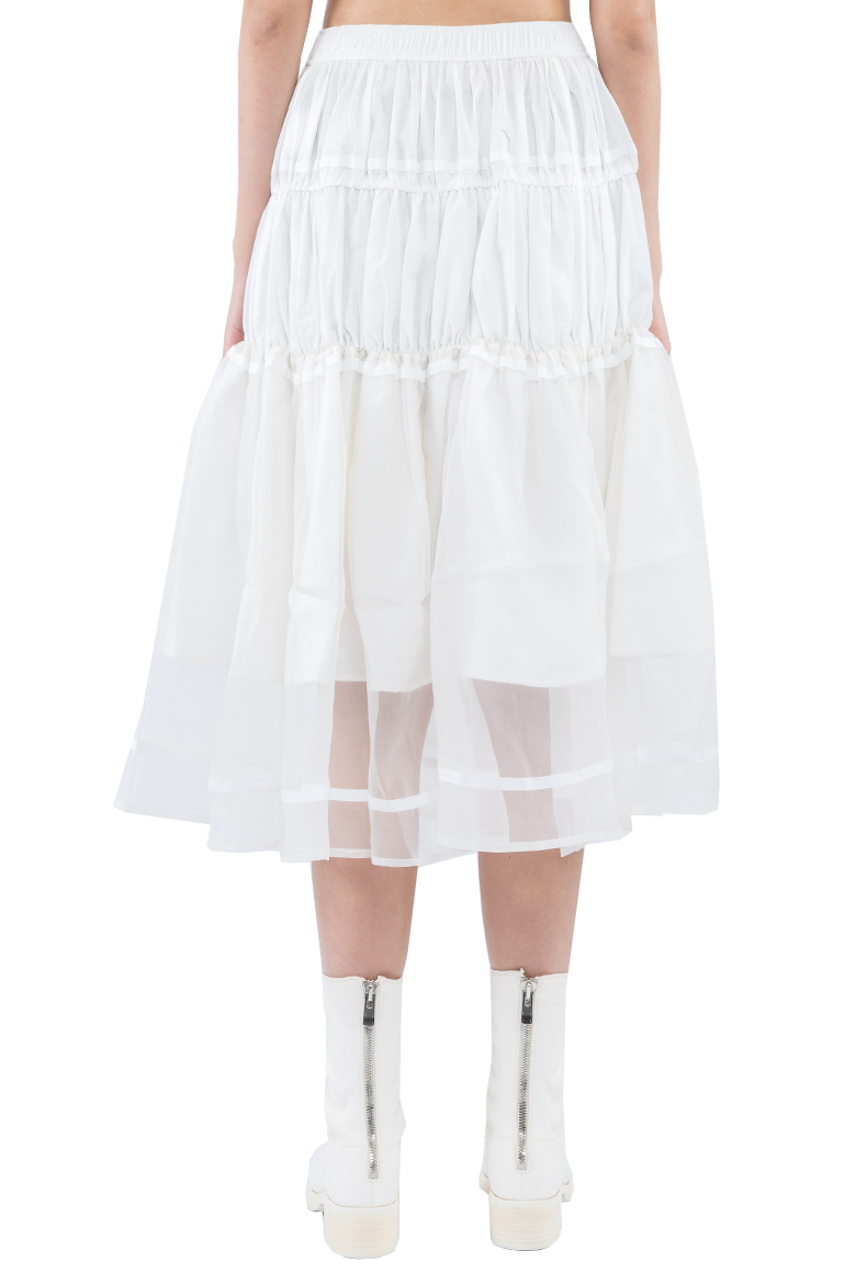 SS20 RENLI SU TIERED DIFFERENT TEXTURED GATHERED MIDI SKIRT WHITE RS0202211 3