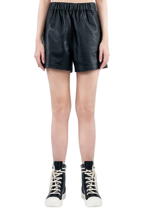SS20 TIBI FAUX LEATHER PULL ON SHORTS BLACK R319FL4058 1